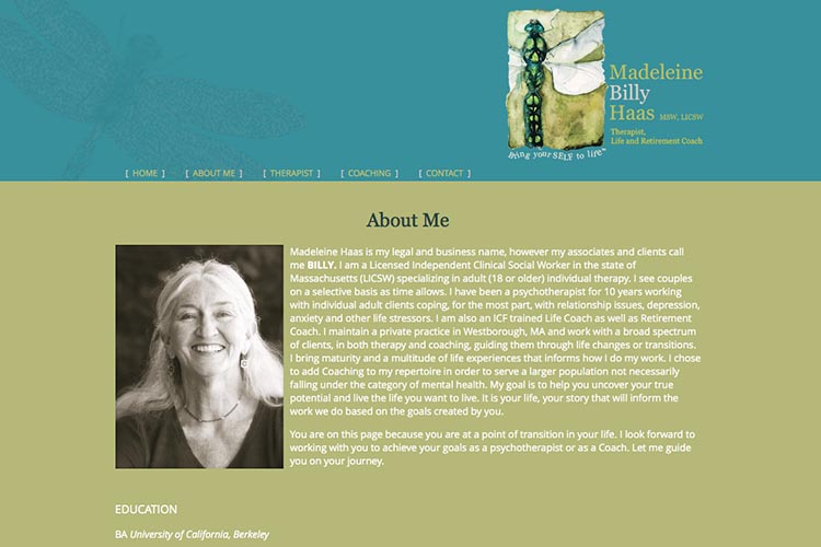 web design for a therapist and coach - about page