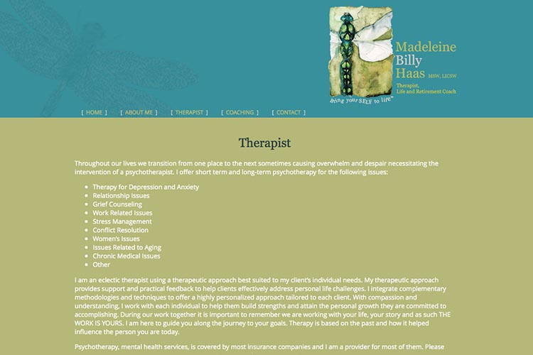 web design for a therapist and coach - therapist page