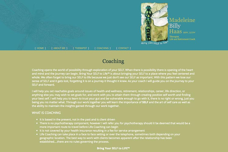 web design for a therapist and coach - coaching page