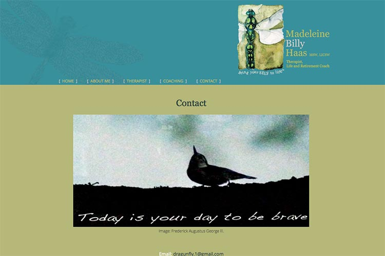 web design for a therapist and coach - contact page