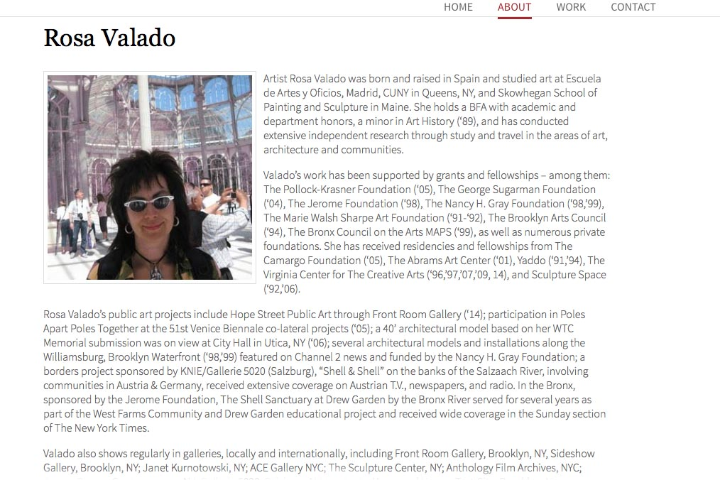 web design for a sculptor, painter and performance artist - Rosa Valado - about page