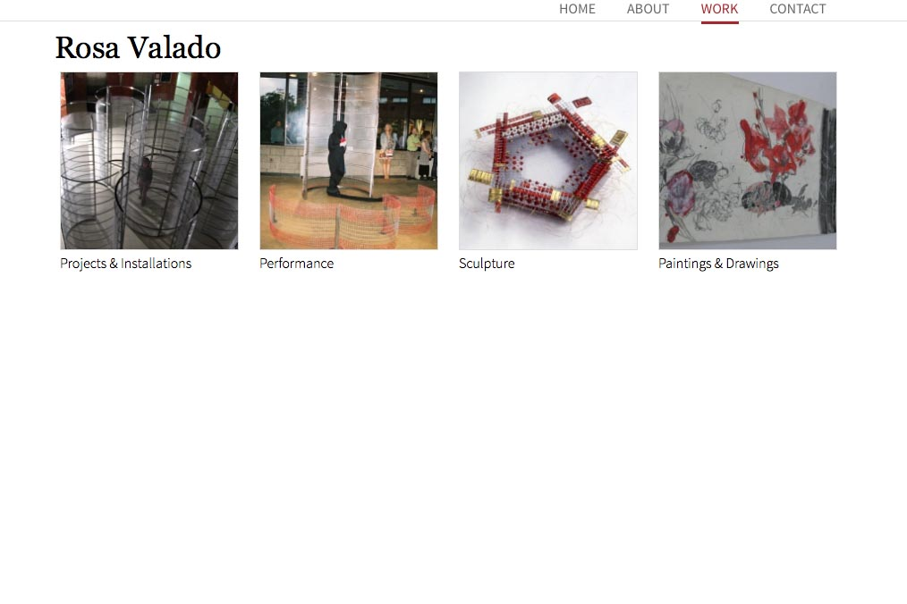 web design for a sculptor, painter and performance artist - work index page