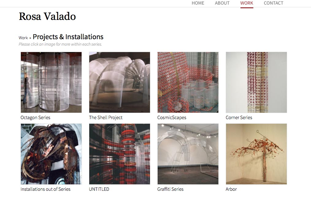 web design for a sculptor, painter and performance artist - Rosa Valado - installations projects index page