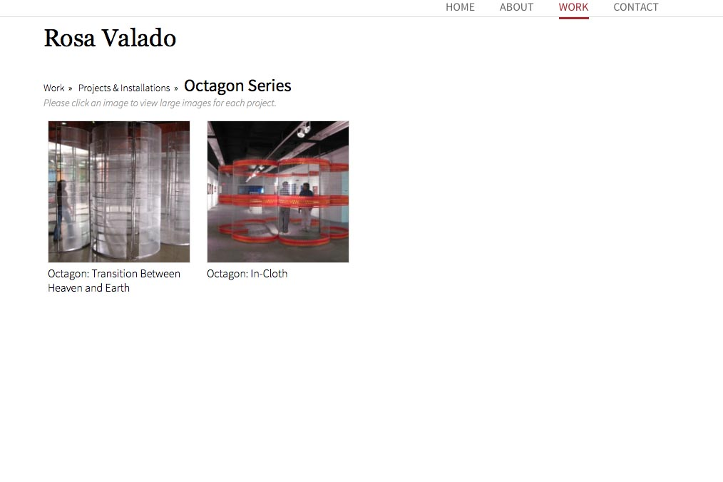web design for a sculptor, painter and performance artist - Octagon series index page