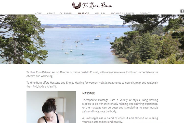 web design for a yoga retreat - massage page