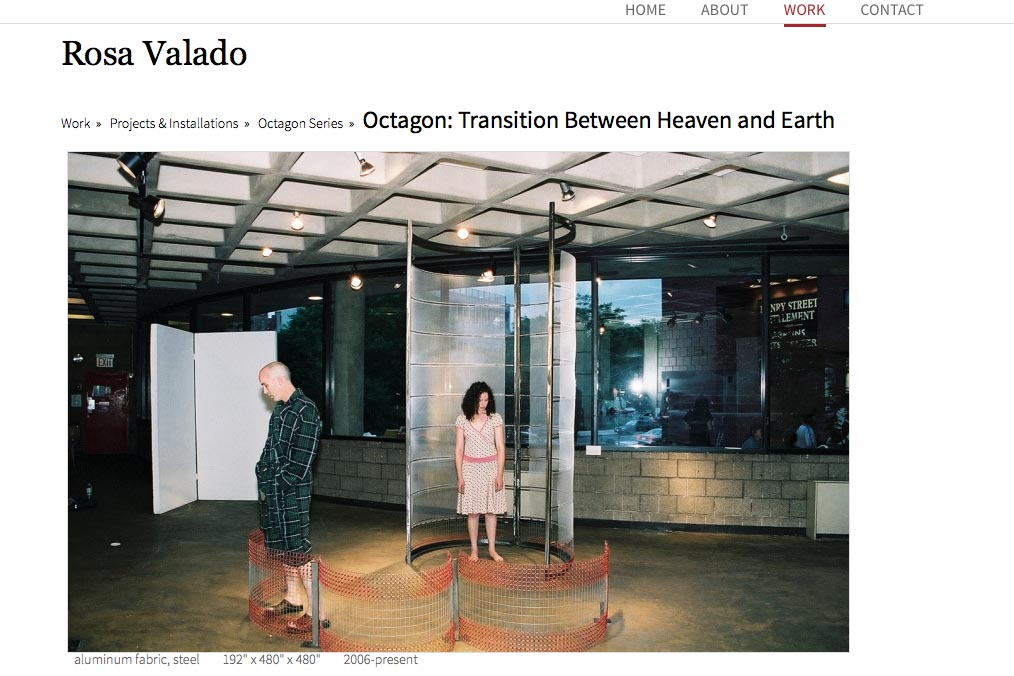 web design for a sculptor, painter and performance artist - Rosa Valado - Octagon series single artwork page