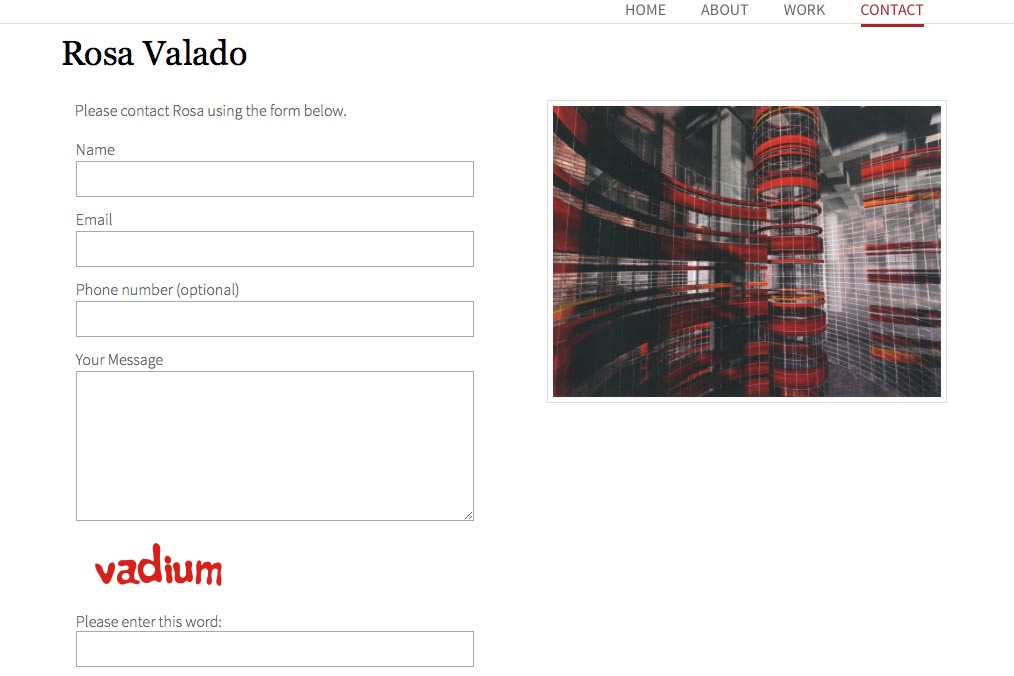 web design for a sculptor, painter and performance artist - Rosa Valado - contact page