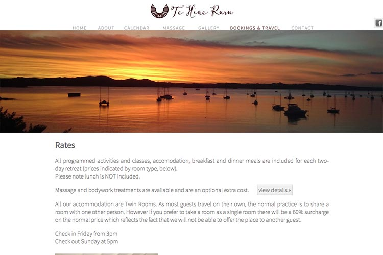web design for a yoga retreat - rates page