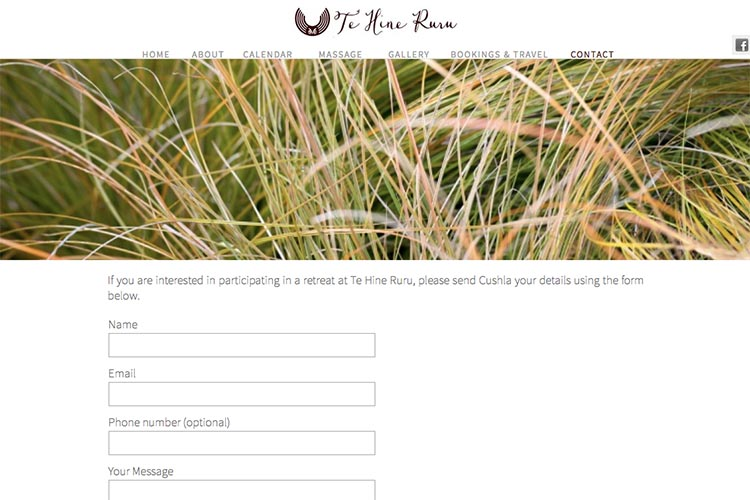 web design for a yoga retreat - contact page