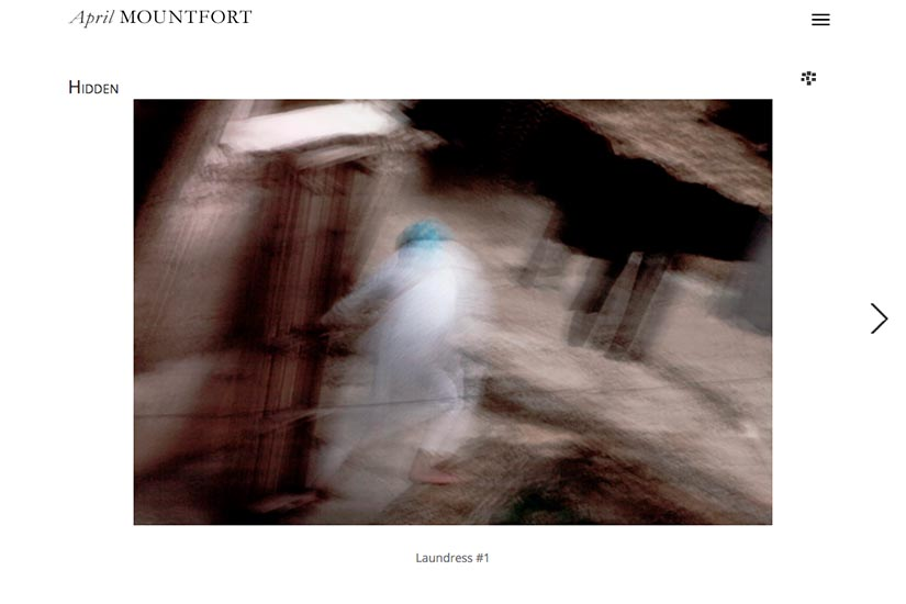 web design for a painter and photographic artist - photo-single page - laundress portfolio