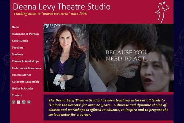 web design for an acting school - Deena Levy Theatre Studio - homepage 2