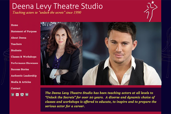 web design for an acting school run by Deena Levy - home page