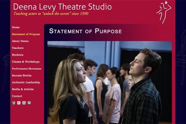 web design for an acting school - Deena Levy Theatre Studio - statement of purpose