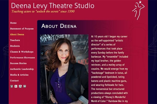 web design for an acting school - Deena Levy Theatre Studio - about Deena Levy page