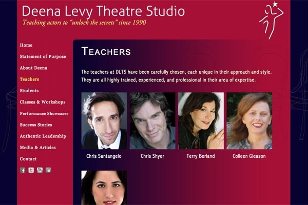 web design for an acting school - Deena Levy Theatre Studio - teachers landing page