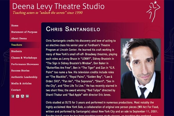 web design for an acting school - Deena Levy Theatre Studio - single teacher page