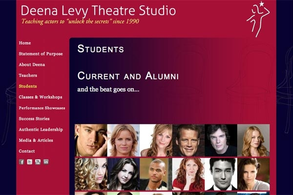 web design for an acting school - students landing page