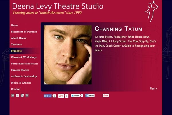 web design for an acting school - Deena Levy Theatre Studio - single student page - Channing Tatum