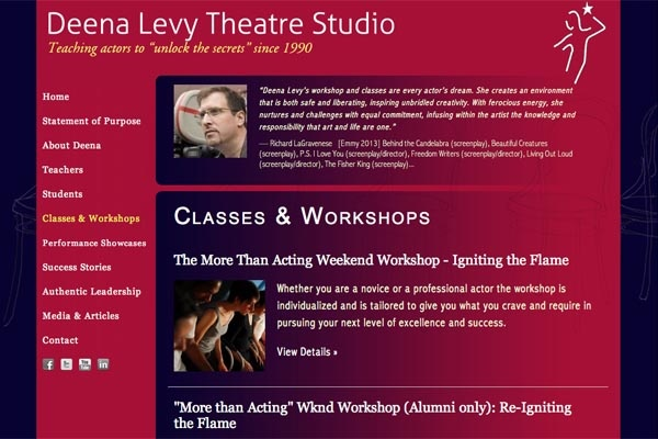 web design for an acting school - classes and workshops landing page