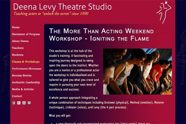 web design for an acting school - single class page