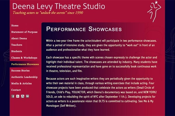 web design for an acting school - performance showcases landing page