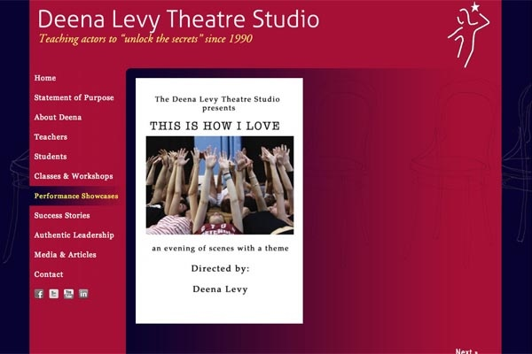 web design for an acting school - single performance showcase page