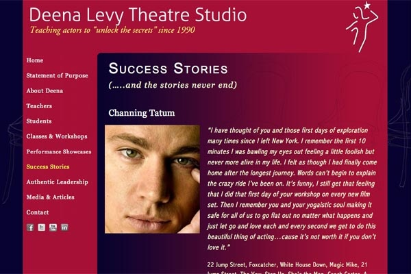 web design for an acting school - Deena Levy Theatre Studio - success stories page