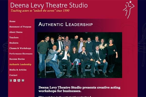 web design for an acting school - Deena Levy Theatre Studio - authentic leadership page