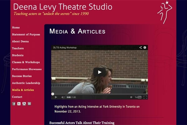 web design for an acting school - Deena Levy Theatre Studio - media articles page