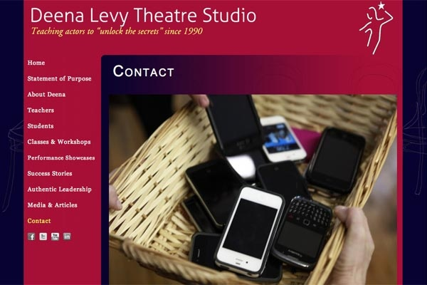 web design for an acting school - Deena Levy Theatre Studio - contact page