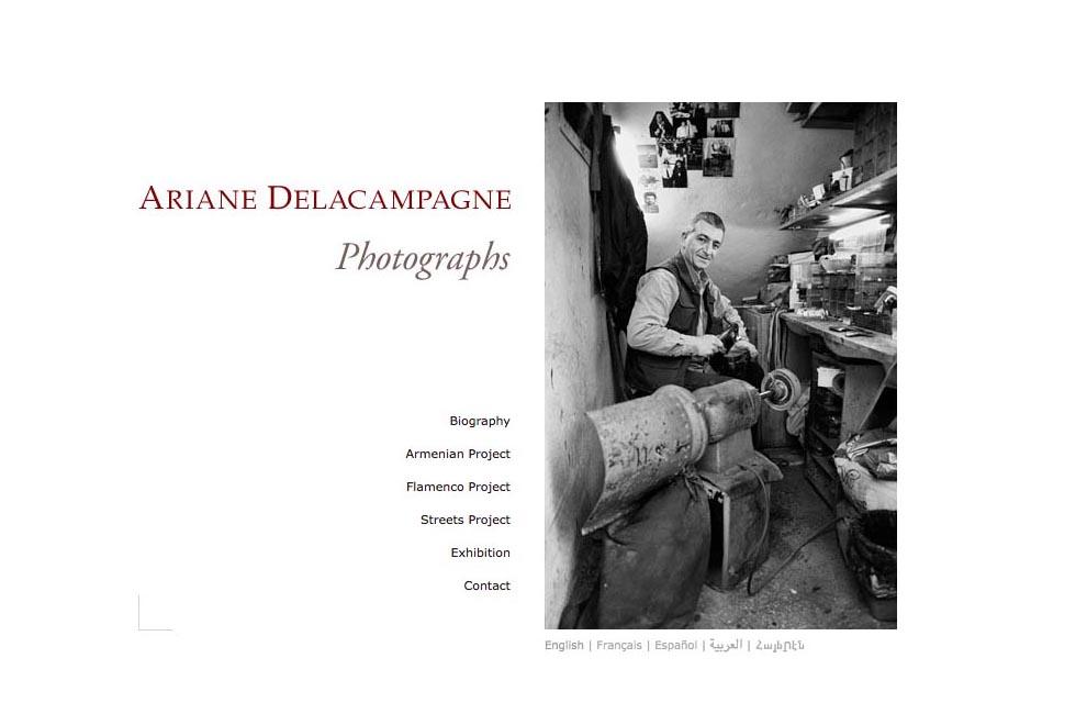 web design for a photographer - ariane delacampagne