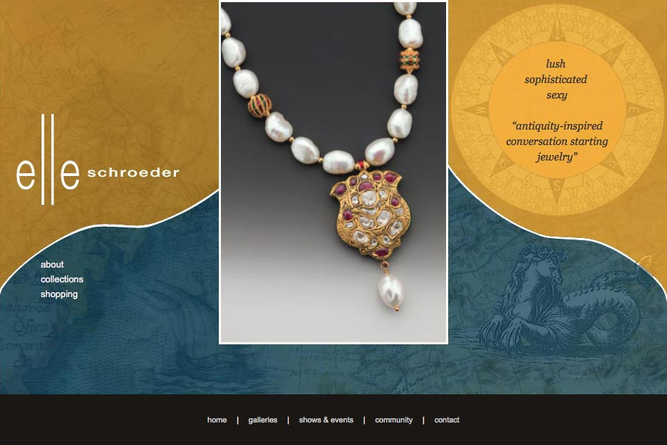 web deisgn for a jewelry designer - elle schroeder