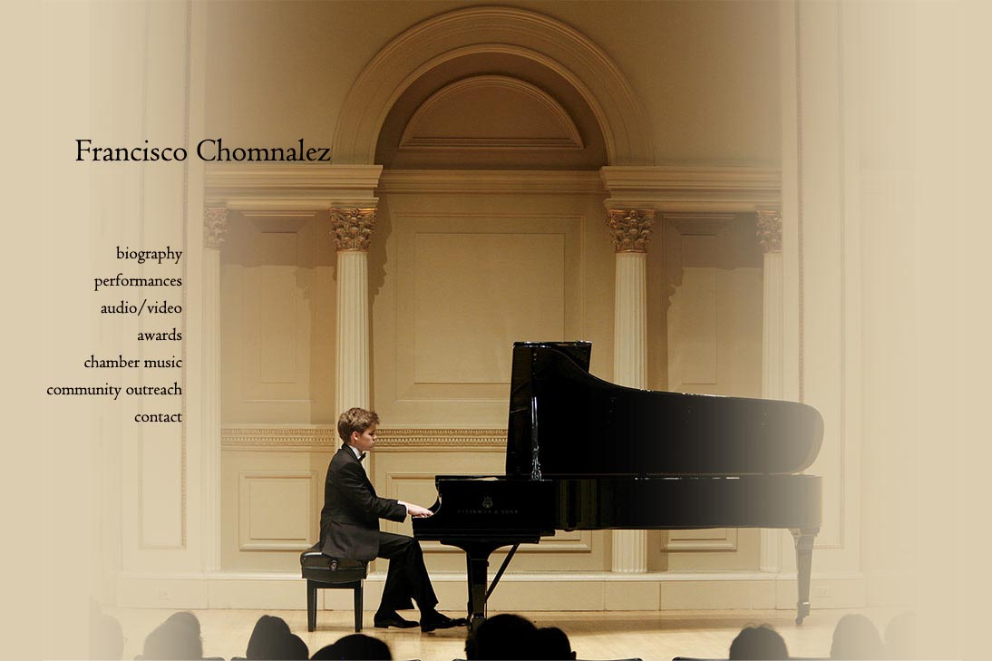 web design for a young concert pianist - Francisco Chomnalez