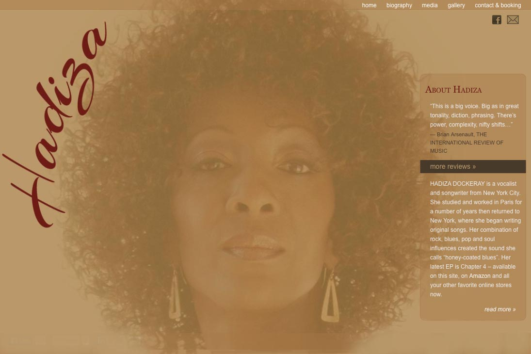 web design for a jazz singer - Hadiza Dockeray - by web designer for artists, Rohesia Hamilton Metcalfe