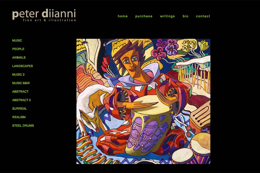web design for artists -  peter diianni artist website