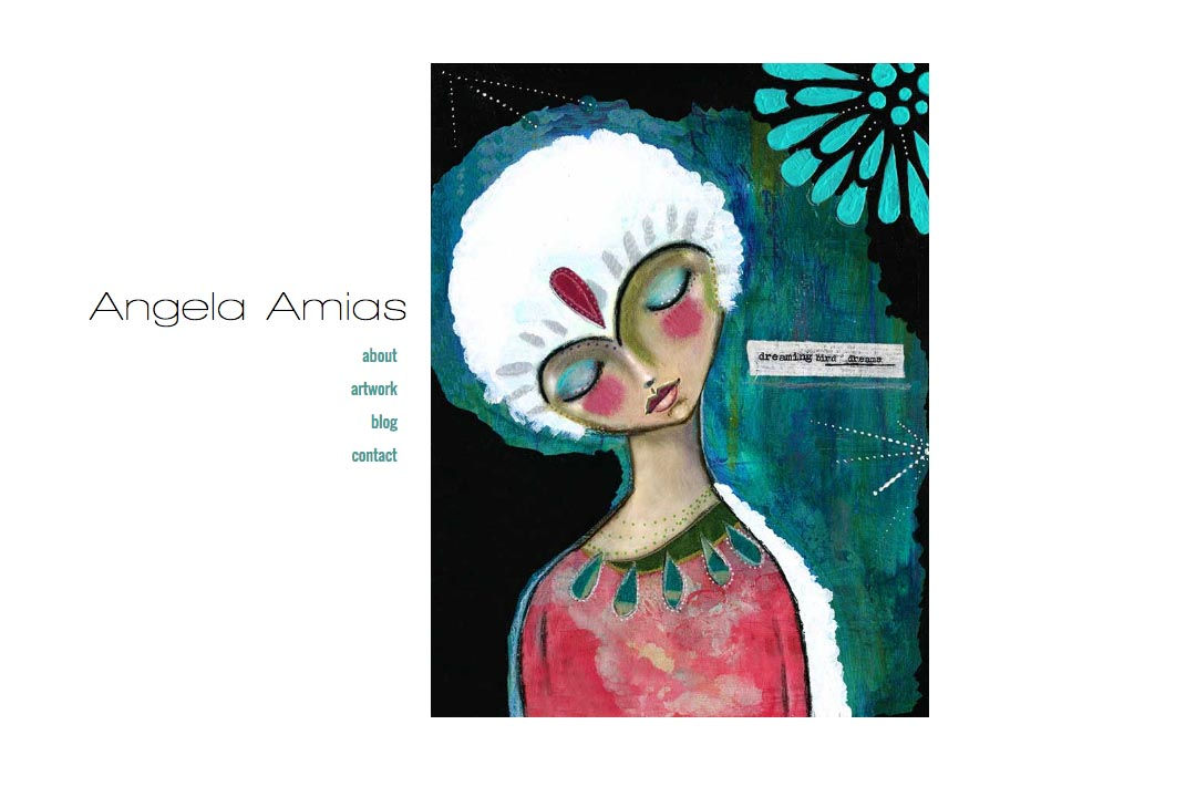 web design for an artist - Angela Amias - homepage