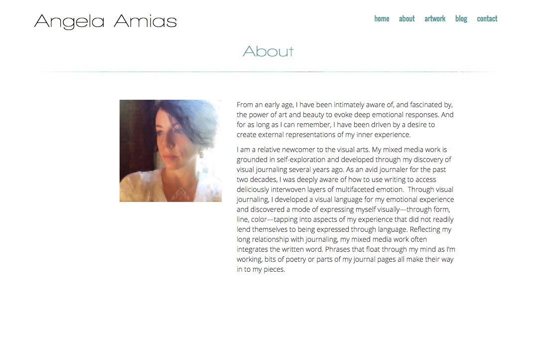 web design for an artist - Angela Amias - about page