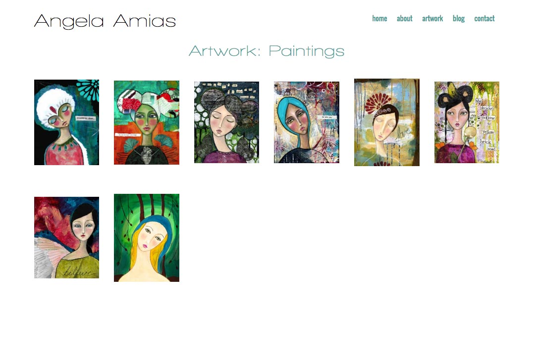 web design for an artist - Angela Amias - paintings index page