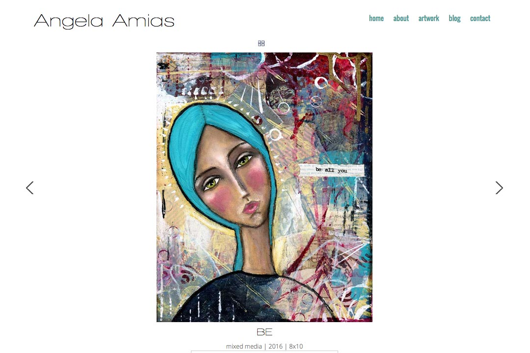 web design for an artist - Angela Amias - single painting page