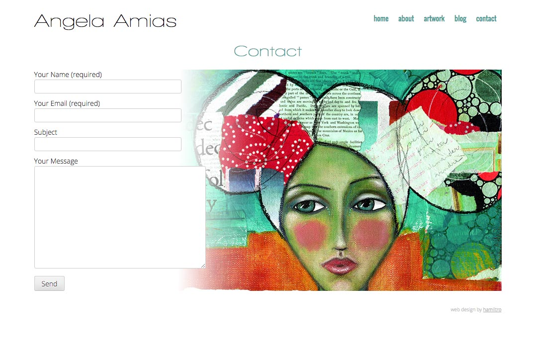 web design for an artist - Angela Amias - contact page