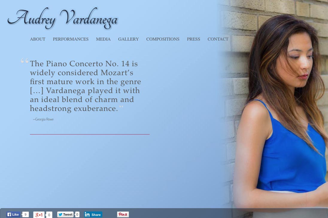 web design for a young concert pianist