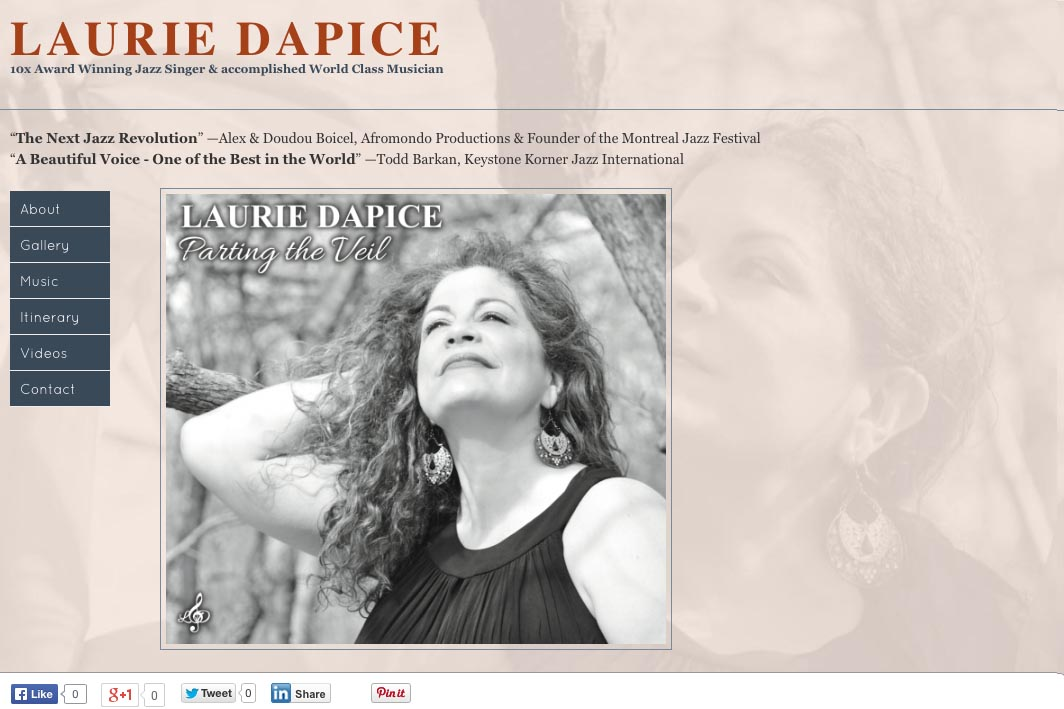 web design for a New York jazz singer - home page