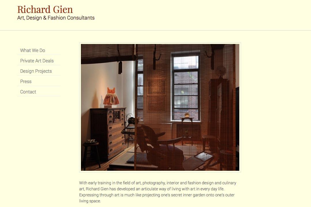 web design for a fashion designer, interior design consultant and art dealer - Richard Gien