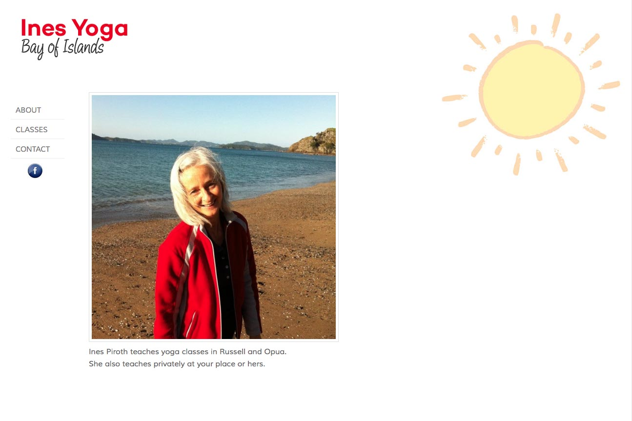 simple web design for a yoga teacher in the Bay of Islands, NZ - Ines Piroth