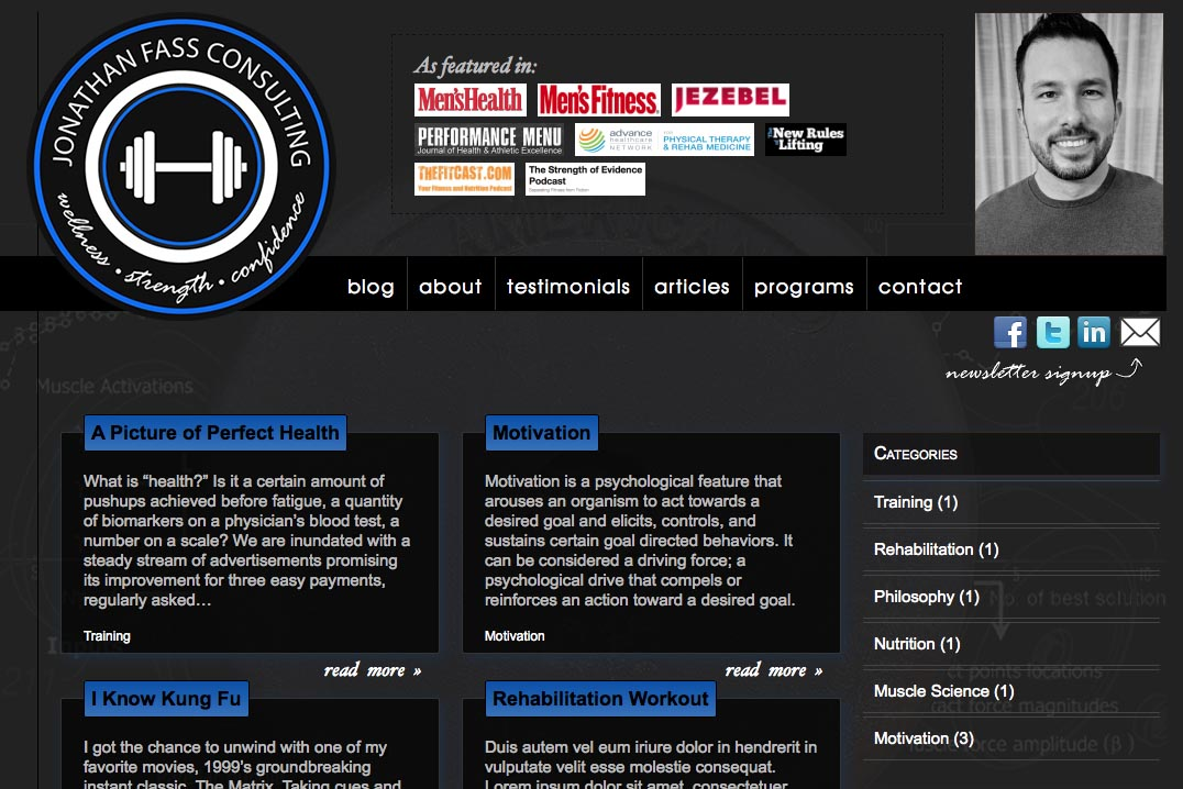 web design for a fitness trainer and consultant - by web designer, Rohesia Hamilton Metcalfe