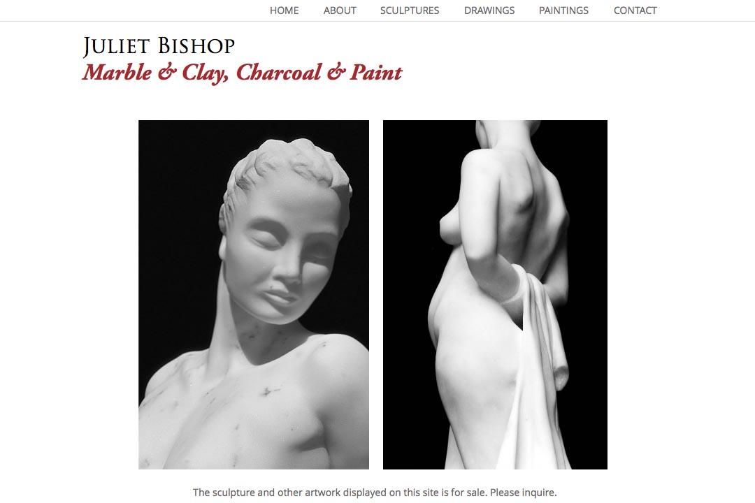 web design for a classical sculptor - Juliet Bishop