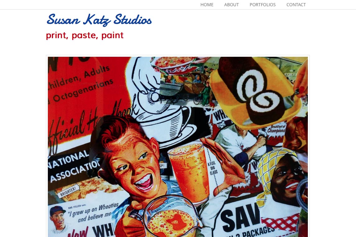 web design for a collage and mixed media artist in the Bahamas - Sue Katz