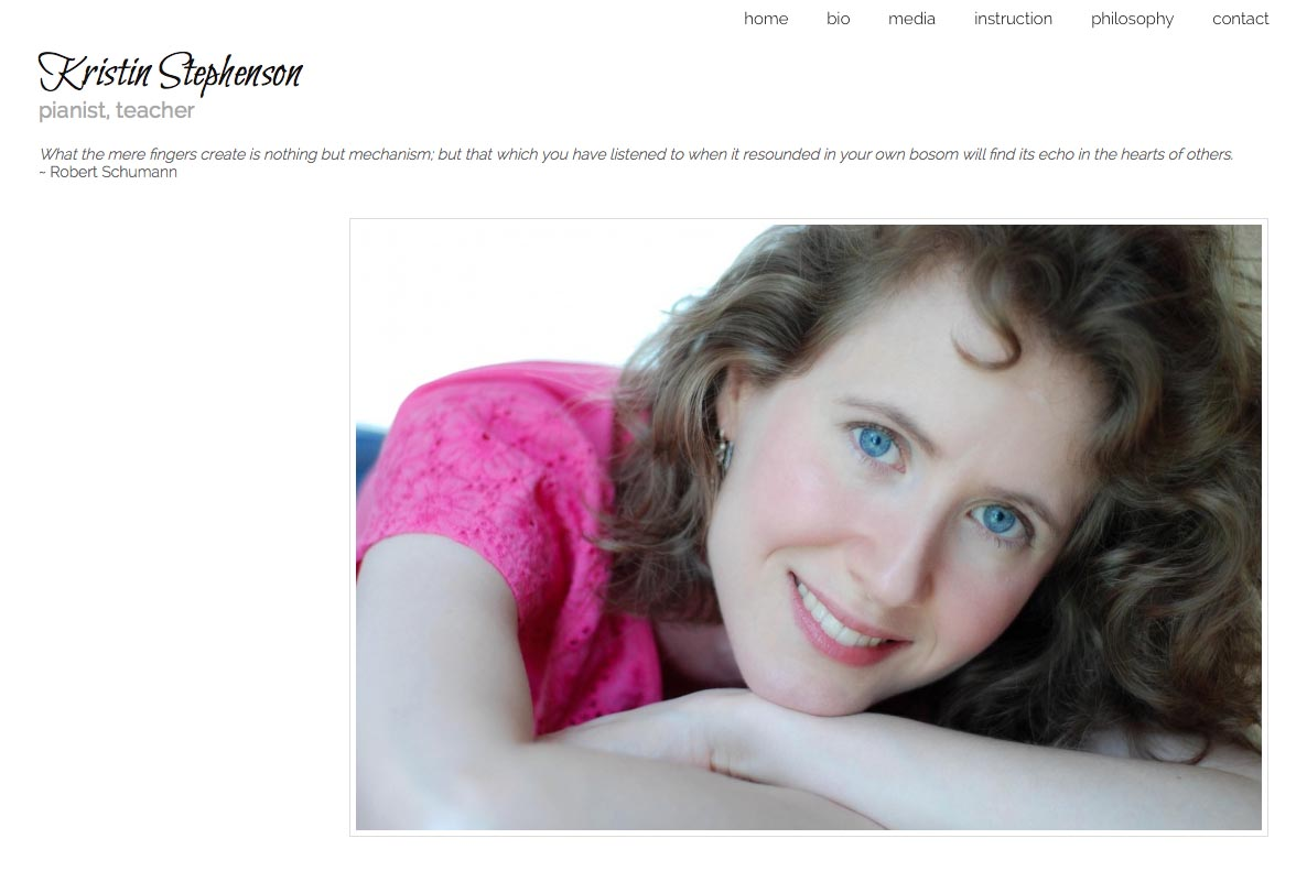 web design for a classical pianist and piano teacher - Kristin Stephenson