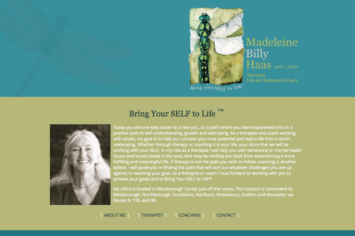 web design for a therapist, life and retirement coach - Billy Haas