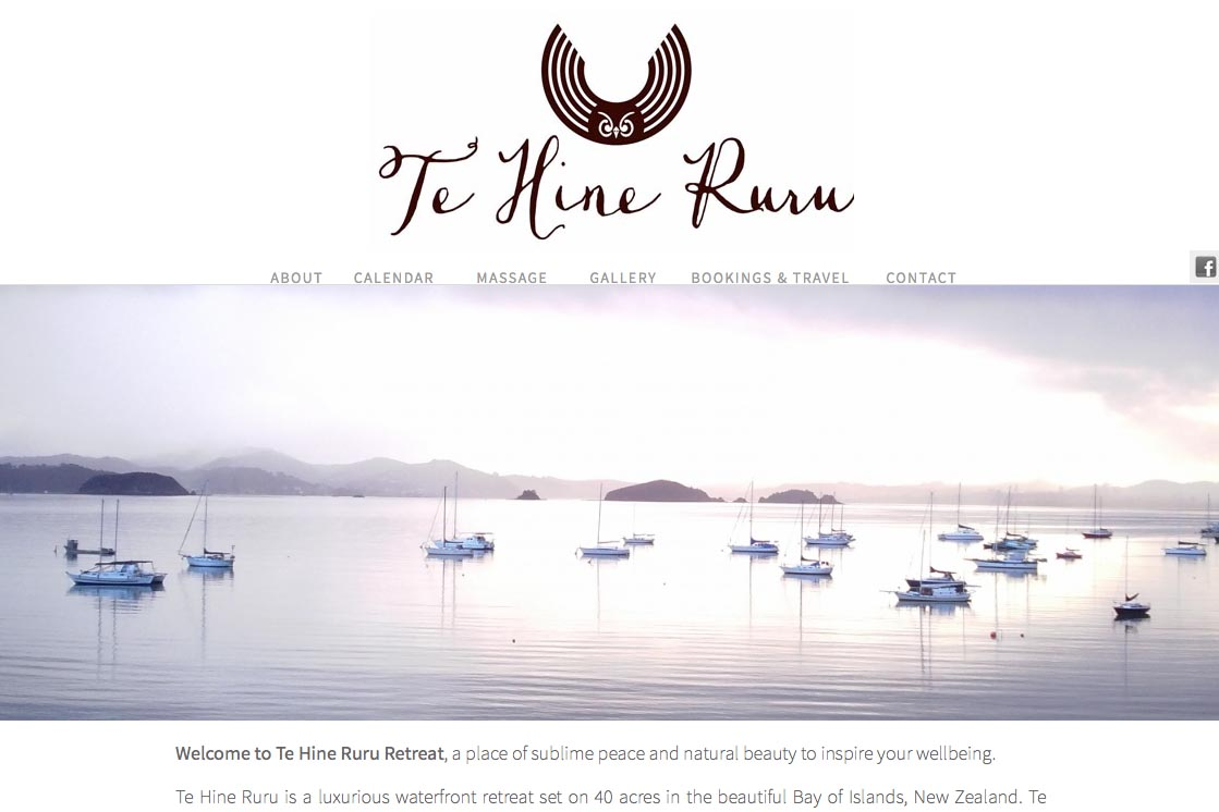 web design for a yoga retreat & massage center in New Zealand - Te Hine Ruru